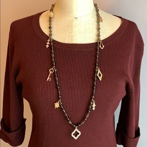 WHBM smoky quartz bead and pave charm necklace NEW